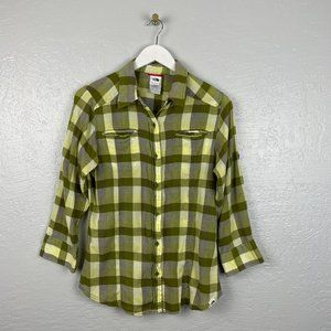 North Face Size L Green Plaid Button Front Shirt